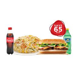 FAMILY PACK FOR 3 PERSON PACK- NO-3      SAVE 65/= ( 1 SUBMARINE + 2 RICE+ 3 SOFT DRINK)
