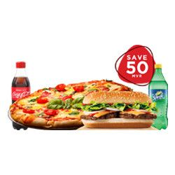 FAMILY PACK FOR 3 PERSON PACK- NO-2   SAVE 50/=   ( 1 SUBMARINE + 1 REGULAR + 3 SOFT DRINK)