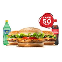 FAMILY PACK FOR 3 PERSON PACK- NO-1      SAVE 50/= ( 2 SUBMARINE + 1 CHICKEN BURGER+ 3 SOFT DRINK)