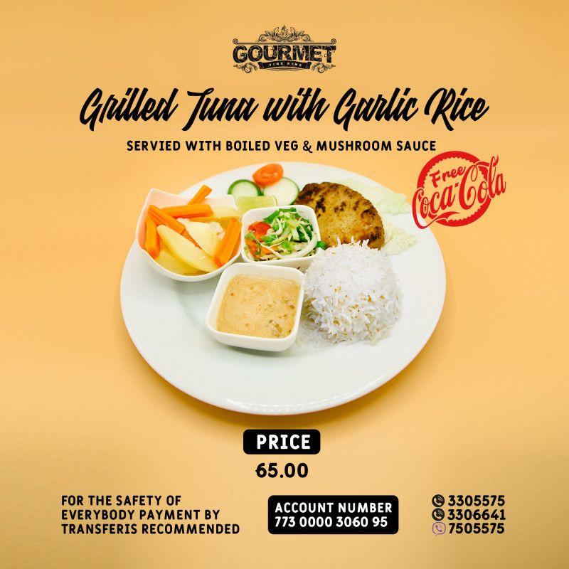 Grilled Tuna Steak With Garlic Rice