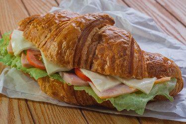 Cold meat croissant sandwich